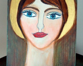 Rustic European Folk Art Angel Icon on Wood Original Modern Religious Romanian Folk Art