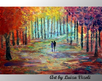 Fall Landscape Couple Painting Original Artwork Abstract Oil Art on Large Canvas After the Rain Luiza Vizoli