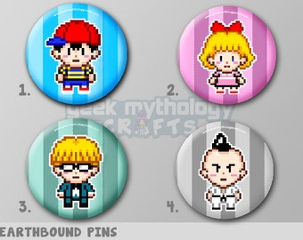 "Earthbound Mother 2 Nintendo Pixel Art 1.5"" Pin Button or Magnet Set - Ness, Paula, Jeff, Poo"
