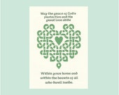 Irish Blessing - May Grace of God's Protection Blessing Celtic Knot Heart Paper Cut Wall Art Wall Decor St' Patrick's Day 5X7 Unframed
