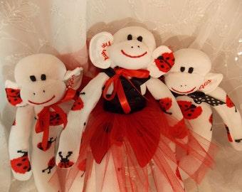 Ladybug Sock Monkey.  Black White and Red with Ladybugs. Ladybug Sock Monkey Ballerina  OOAK.