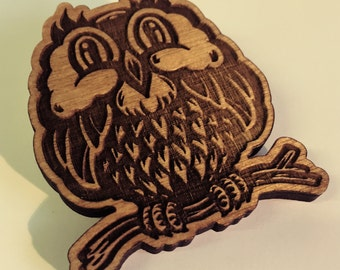 Owl - Laser Etched Wooden Pin