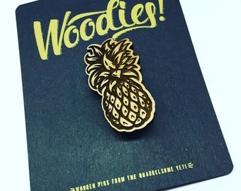 Pineapple - Laser Etched Wooden Pin