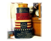 Americana Pledge primitive shaker style stacking boxes