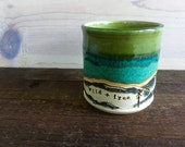 Wild + Free - Mountain Mug - Tea Cup - Coffee Mug - Espresso - Latte - Wanderlust - Mountains, Moons, Trees - Turquoise, Green