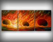 Art painting acrylic original painting lollipop tree art abstract wall art home decor modern abstract impressionist surreal 20 x 48
