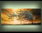 """blowing wind tree art abstract painting housewares wall art wall decor gift 56 x 22 x 1.5"""" thick diptych  Mattsart"""