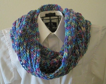 Crocheted Knit-Look Cowl / Scarf - Watercolors