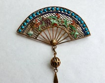 Vintage Enamel Silver Fan Brooch Asian Motif Dragon or Griffon Image Bead Dangle