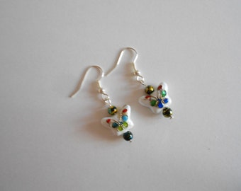 Butterfly Earrings Cloisonne Earrings White Earrings Enamel Beads Blue Glass Beads Metal Beads China Beads Dangle Earrings Pierced Earrings