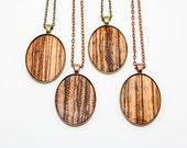 Zebra Wood Veneer Oval Pendant (Copper or Brass) - Modern Handmade Jewelry