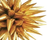 Gold Christmas Holiday Paper Ornament Holiday Home Decor Christmas Tree Star Spiky Decorative Ball Holiday Bauble - Antique Gold, 4 inch