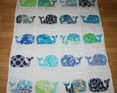 Baby Whale quilt made with Lilly Pulitzer fabric