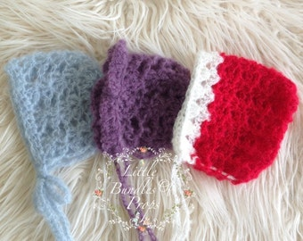 CLEARANCE Newborn Bundle  Three Mohair Bonnets Photo Props