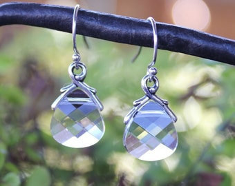 Clear Crystal briolette earrings- sterling silver,  Swarovski briolettes - free shipping in USA - Winter