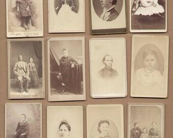 12 Different Antique CDV Photographs 1860-1880 Vintage Historic Photos Lot49