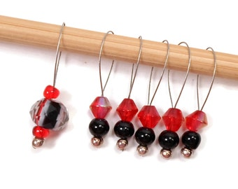 Beaded Stitch Markers Snag Free Red Black Snagless DIY Knitting Supplies Gift for Knitter Goth Skull