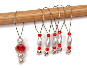 Knitting Stitch Markers Set Snag Free DIY Knitting Supplies Red White Gift for Knitter Craft Supplies