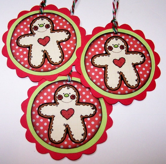 Gingerbread Man, Gift Tags, Favor Tags, Red, Polka Dot
