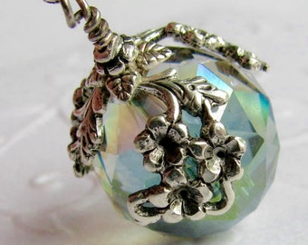 The World in Bloom - ceiling fan pull, home decor, crystal green ball charm, antiqued silver floral draping, verdigris lighting, light, lamp