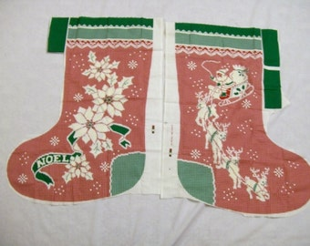 Cut and sew Christmas stocking fabric panel, 23 x 12 inches, Big Christmas Stocking,