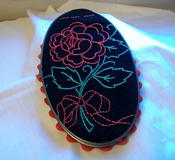 Hoop art red rose on black velvet embroidery