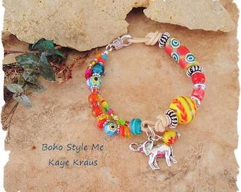Colorful Bohemian Jewelry, Boho Tribal Elephant Beaded Bracelet, Global Chic, Bold Ethnic Bracelet, Boho Style Me, Kaye Kraus