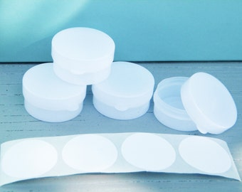 Set of Four Clear/White Plastic Lip Balm or Sample Pots with Labels