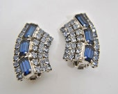 Vintage Sapphire Blue Rhinestone Baguettes and Clear Rhinestone Earrings - Clip Ons