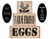 No Paint Farm Fresh Eggs DIY Blocks , Instant Download , Decoupage Sheet , Printable Craft , Wooden , Chunky , Stackable , Shelf Sitters