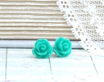 Teal Stud Earrings Rose Studs Teal Rose Stud Earrings Surgical Steel Teal Studs Teal Flower Earrings