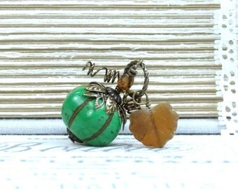 Green Pumpkin Necklace Halloween Necklace Autumn Necklace Pumpkin Jewelry Fall Necklace Pumpkin Gift