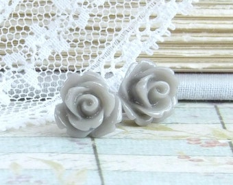 Gray Rose Earrings Rose Stud Earrings Gray Flower Studs Hypoallergenic Rose Earrings Gray Flower Earrings