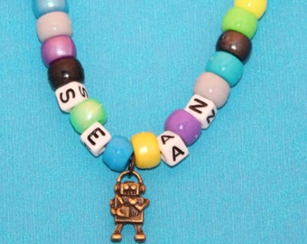 Kids Party Favor Robot Personalized Necklace - Make your own Child Necklace, Easy to Make, Jewelry Kit, DIY, Create your own, Bead Kit