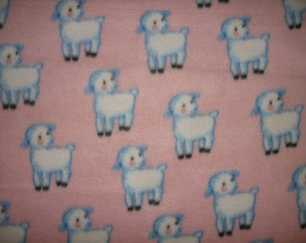 lambs sheep on pink fleece blank for baby or toddler