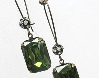 CIJ Sale 20% Off Art Deco Dangle Earrings Victorian Jewelry Olive Green Earrings Downton Abbey MADELINE Olive