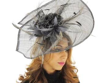 Donika Grey Fascinator Hat for Weddings, Races, and Special Events With Headband