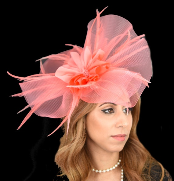 Coral Pink Fascinator Hat For Kentucky Derby Ascot SAMPLE