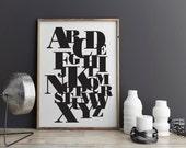 Black and White Alphabet - Digital Print - PDF Poster - Poster Bodoni - Digital Download Print - Printable Type Poster - 8x10 - 16 x 20