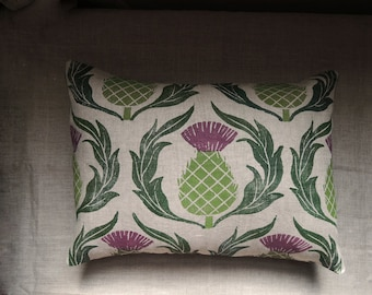 Scottish Thistle hand block printed natural gray brown linen decorative home decor pillow cover