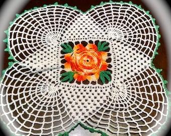 Doily  Vintage Floral orange Rose Doily Crafting Supply or Display Vintage Linens