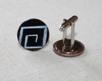 Men's Cuff Links, Men's Black and White Cuff Links, Men's Cufflinks, Abstract Cuff Links, Men's Accessory, Copper Enamel, Good Luck Penny