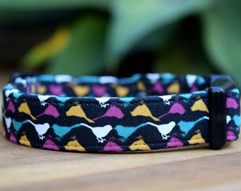 "Birdie Dog Collar, 3/4"" or 1"" wide, Birds Collar for Dogs, Fabric Pet Collar, Made in Australia, Small, Medium, Large or XL"