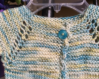 Little Girl's Hand Knit Cardigan- Baby Girl's Hand Knit Cardigan- Ocean colored silky soft