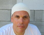 men's summer kundalini yoga cap/ off white cotton linen crochet