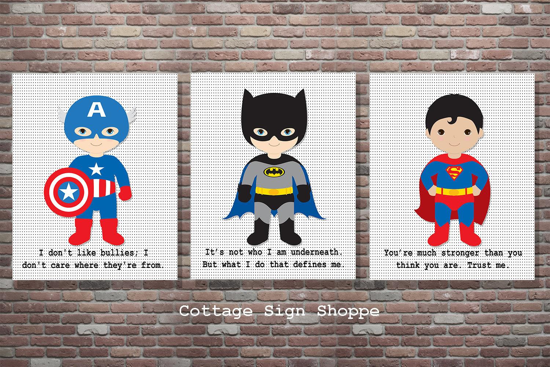 Superhero Wall Art superhero decor superhero sign superhero wall artset