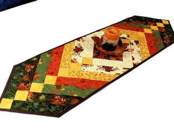 Autumn Leaves Quilted Table Runner - Green, Gold, Rust, Brown Leaves French Braid Style, Maple Island Fall Table Runner Quilt