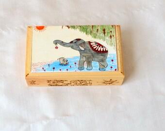 Yoga Art Box.  Sun Salutation. Elephant Art Box. Pyrography Lettering Box. Trinket Box
