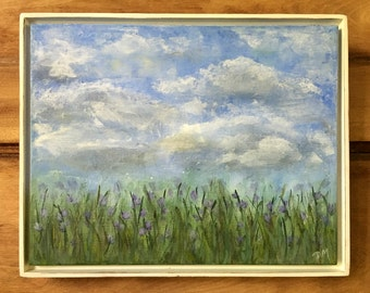Side of the Road, original acrylic painting, wildflowers, clouds, sky