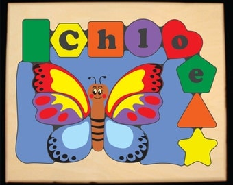 Personalized Name Butterfly Theme Puzzle - Customize Colors... Teaching a preschool child their shapes, colors and name is so educational!